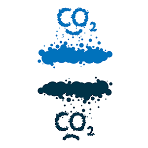 Illustration of CO2 with a blue cloud